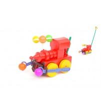 Stumjamā plastmasas rotaļlieta ar kociņu - Vilcieniņš