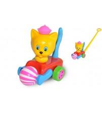 Stumjamā plastmasas rotaļlieta ar kociņu - kaķis ar bumbu 340671