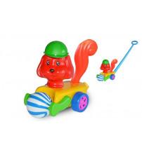 Stumjamā plastmasas rotaļlieta ar kociņu - suns ar bumbu 340756